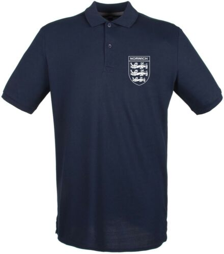 Norwich City  3 Lions Club And Country Small Crest Polo Mens