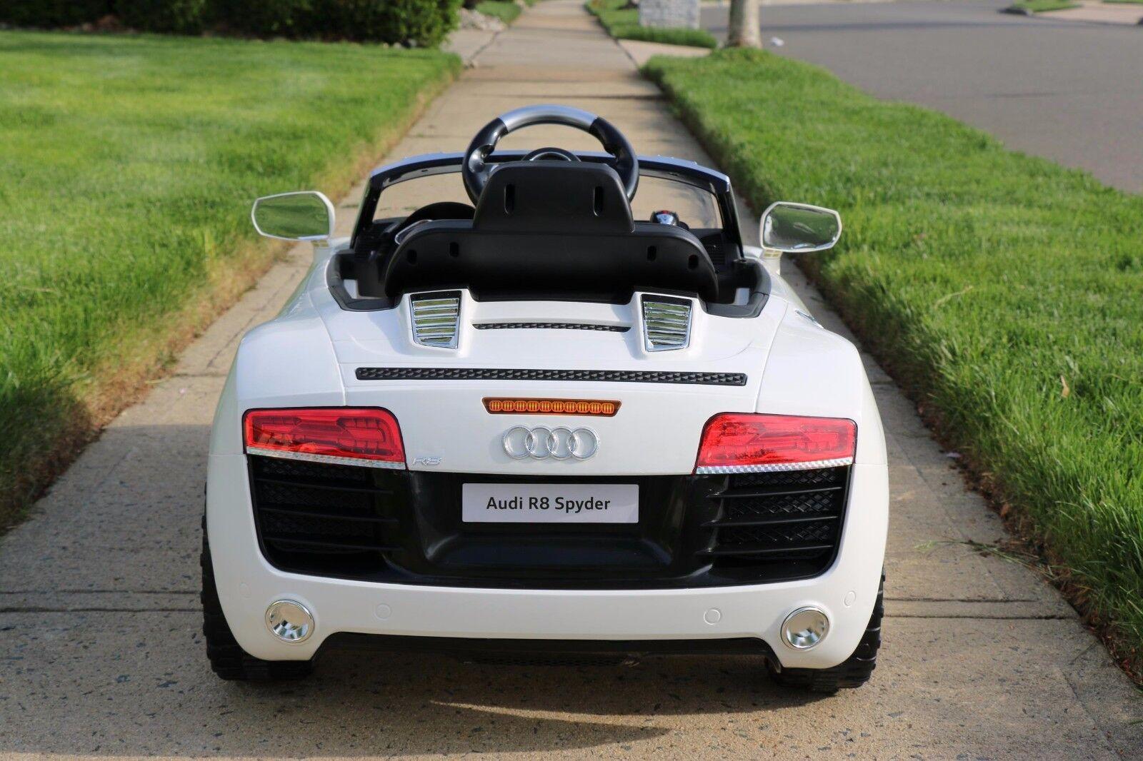 Audi r8 weiße lizenzierte doppelte elektromotor 12v kinder auto & fernbedienung