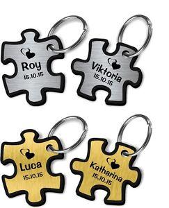 """Schlüsselanhän<wbr/>ger Acryl Silber oder Gold """"Partner Puzzle"""" mit Gravur 2016 4"""