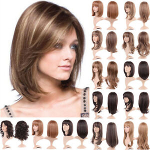 Full Hair Wig Highlight Coffee Brown Blonde Bob with Bangs ...
