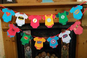 baby vest bunting banner baby shower 1st birthday avengers batman