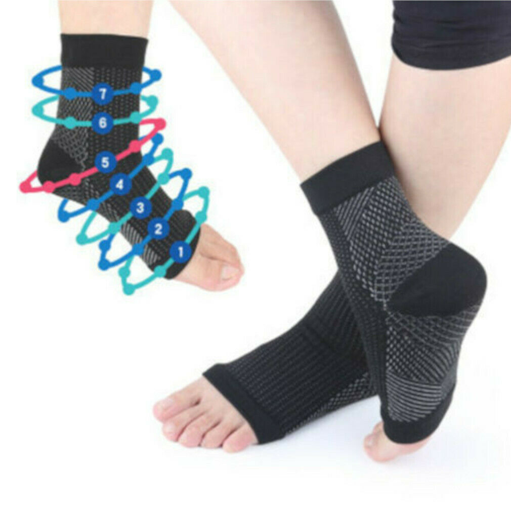 Ankle Foot Brace Support Compression Sock Anti Fatigue Varicose Feet Sleeve BS