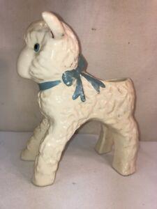 Vtg-Mid-Century-USA-Brush-Pottery-LARGE-Lamb-Planter-Vase-Easter-Centerpiece