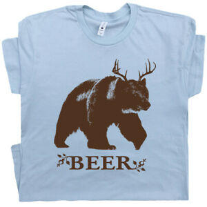 Bear-Deer-Beer-T-Shirt-Funny-Beer-Shirts-Saying-Alcohol-Bar-Pub-Redneck-Cool-Tee