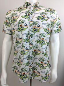 c49105c1 Huntington Beach Club 84 Hawaiian Shirt White with Palm Trees Size L ...