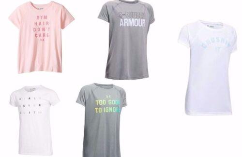7-8 YMed Under Armour Big Girls Tee Shirt Raglan Sleeves Size  YSM 10-12