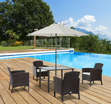 6PC Patio Garden Rattan Furniture Set Wicker 4 Chair Table with Umbrella Outdoor