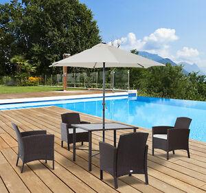 6PC Patio Garden Rattan Furniture Set Wicker 4 Chair Table with Umbrella Outdoor