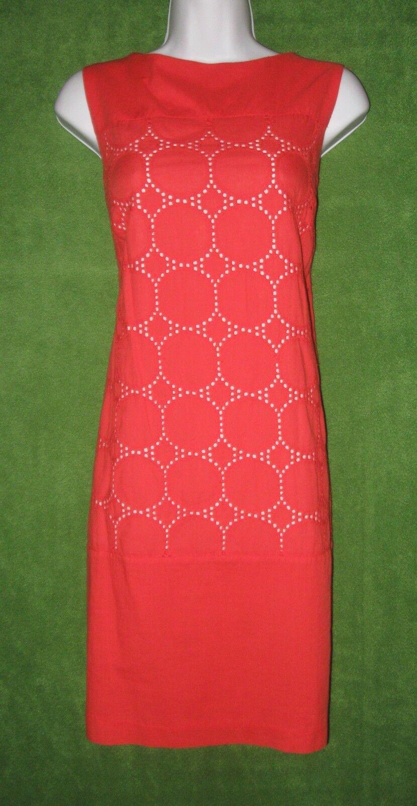 Studio One orange Cotton Eyelet Crochet Dot Causal Shift Dress 10  79 MISC