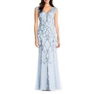 Aidan-Mattox-Womens-Blue-Formal-V-Neck-Evening-Dress-Gown-10-BHFO-7604