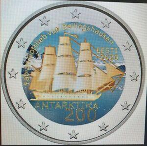 2-Euro-Gedenkmuenze-Estland-2020-coloriert-mit-Farbe-Farbmuenze-Antarktis-Schiff