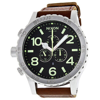 Nixon Chronograh Brown Leather Mens Watch A1241037