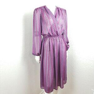 vtg 70s semi sheer long sleeve blouson dress cottagecore