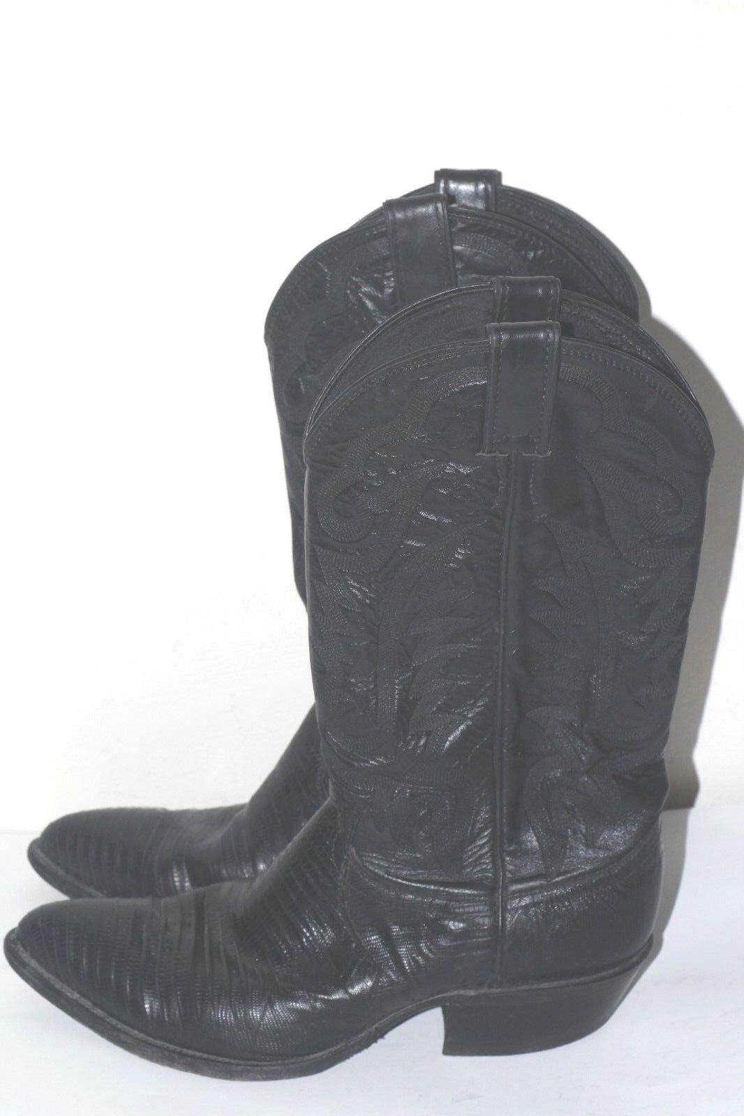 Men's Vtg justin 8105 Iguana CowBoy Boots Black Leather sz 8.5 EE  Made in Usa