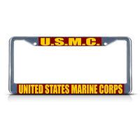 U.s.m.c. United States Marine Corps Chrome Metal License Plate Frame Tag Border