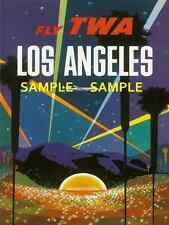 """TWA  Airlines ( LOS ANGELES )  11"""" x 17"""" Collector's Travel Poster Print - B2G1F"""