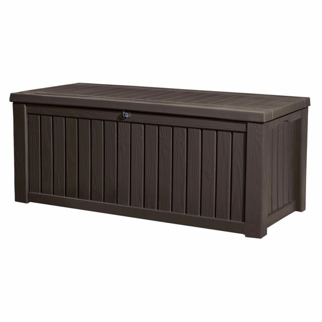 Fine Keter Rockwood 150 Gallon Patio Storage Bench Weatherproof Deck Box Gmtry Best Dining Table And Chair Ideas Images Gmtryco