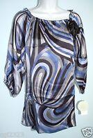 Chenault Women Size M 100% Silk Ribbon Tie Scoop-neck Prints Top $89