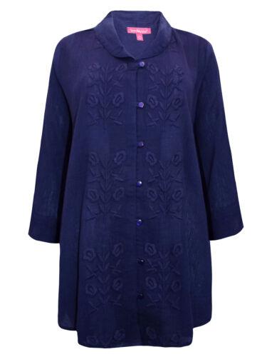 Woman Within Femmes Chemisier Shirt Top Plus Taille 18//20-42//44 bleu marine brodé