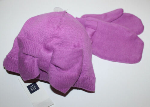 baby Gap New Purple Cotton Sweater Knit Hat /& Mittens Set w// Bow