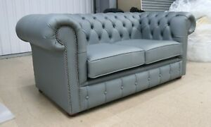 NEW-CHESTERFIELD-TUFTED-BUTTONED-2-SEATER-SOFA-REAL-GREY-LEATHER