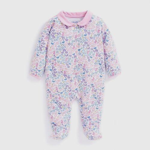 Jojo Maman Bebe GIRLS White PINK FLORAL Bodysuit Romper BABYGROW SLEEPSUIT 0-18m