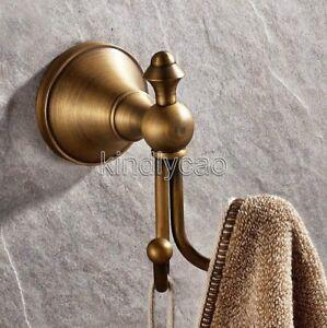Antique Brass Double Robe Hook Wall Mounted Bathroom Accessories Hardware Kba146 Ebay
