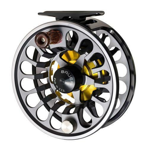 NEW BAUER RX-4 CHARCOAL    GRAPHITE FLY FISHING REEL 6-8 WEIGHT ROD FREE  100 LINE 60a079
