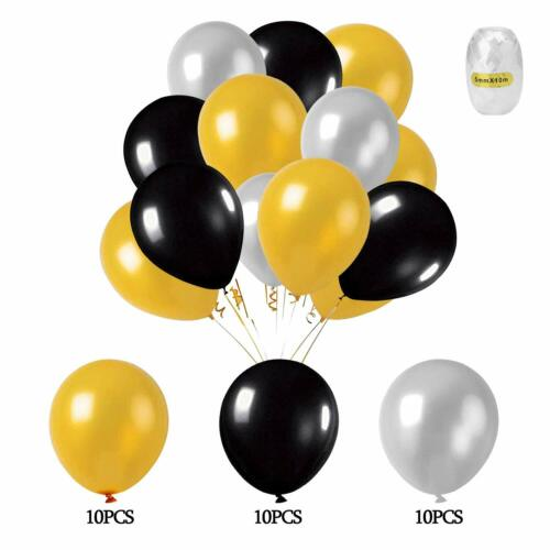 53pcs Black And Gold Happy Banner Star Heart Balloon Birthday Party Decor Gifts