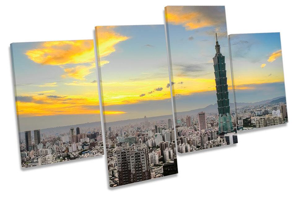 Taipei City City City Skyline Taiwan MULTI CANVAS WALL ART Boxed Framed 557d57