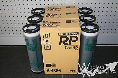 6 Genuine Riso OEM S-4386 Super HD Black Ink Risograph RP 3700 3790 Duplicator