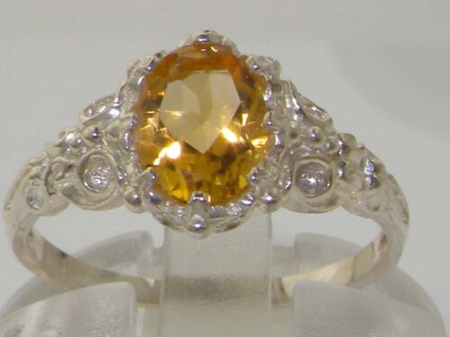 Luxurious Solid 925 Sterling Silver Natural Citrine Solitaire Engagement Ring