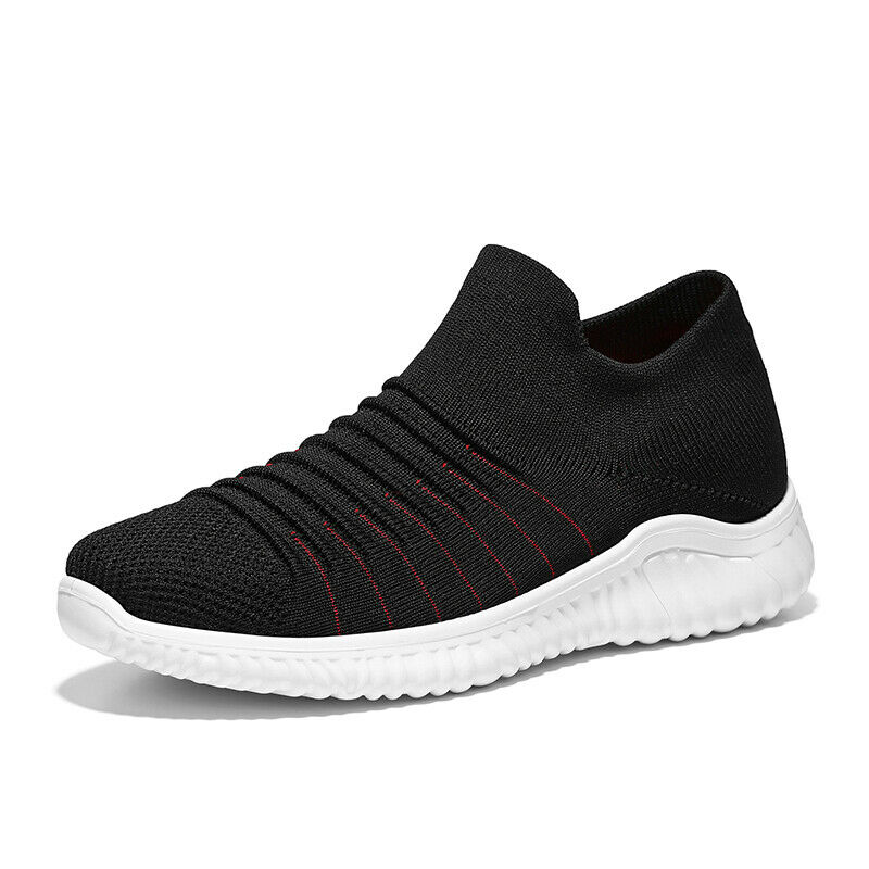 Mens mesh casual sneakers outdoor slip on round toe low top sports shoes stylish