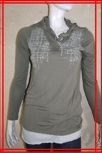 COP-COPINE-Taille-L-40-Superbe-tee-shirt-manches-longues-sweat-capuche-taupe