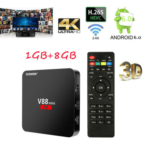 SCISHION V88 mini Android 6.0 Smart TV Box 8G RK3229 Quad-Core HD 4K H.265 Media