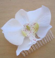 "3 1/4"" Cream White Orchid Silk Flower Hair Comb, Wedding,Prom,Luau,Dance,Bridal"