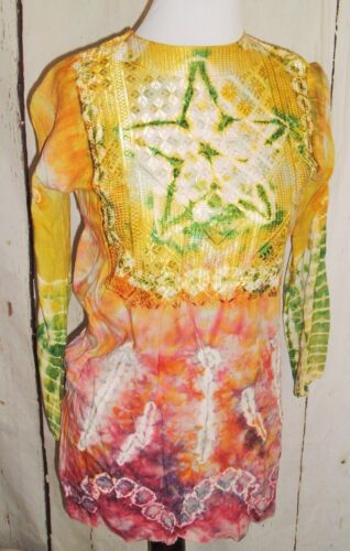 Womens Vintage Hippy Boho Festival India Batik Print Tie Dye Tunic Top Blouse M