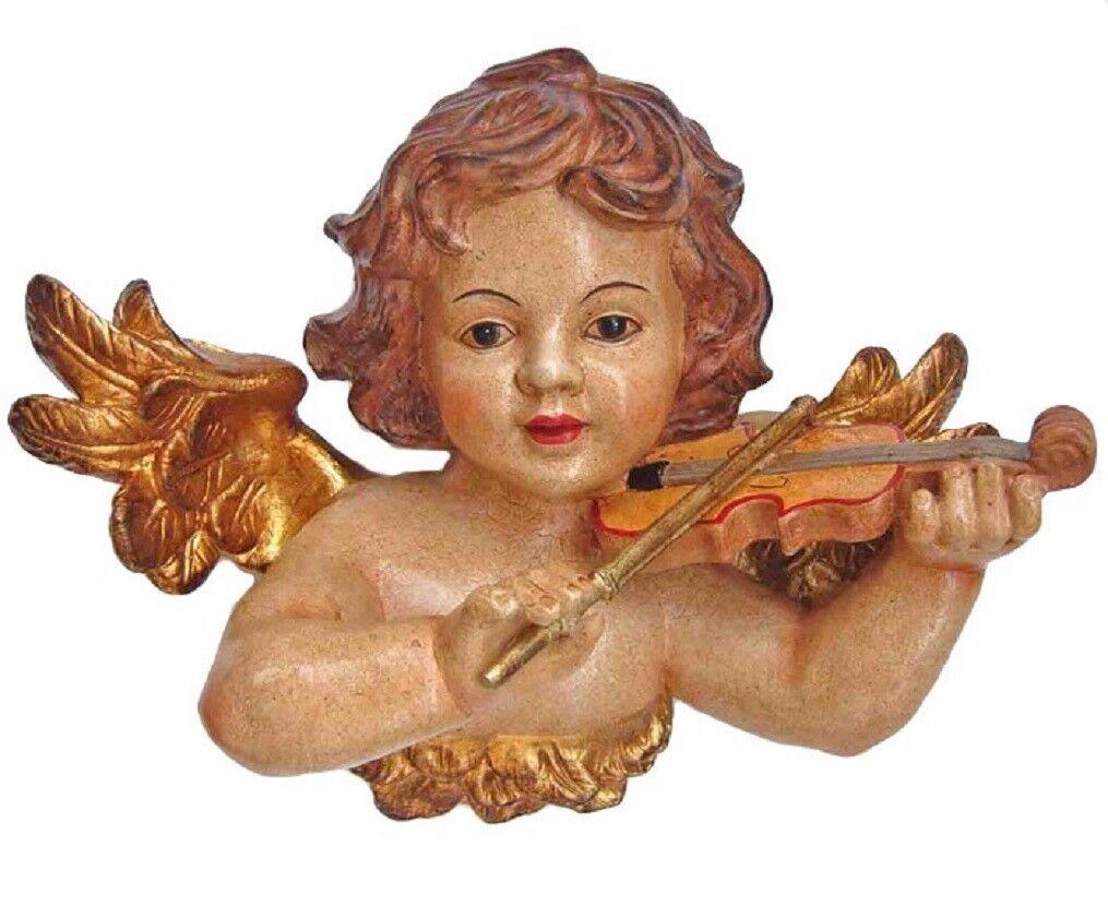 Schöner Wandengel Engel mit Geige im Antikstil gefertigt 22 x 30 cm