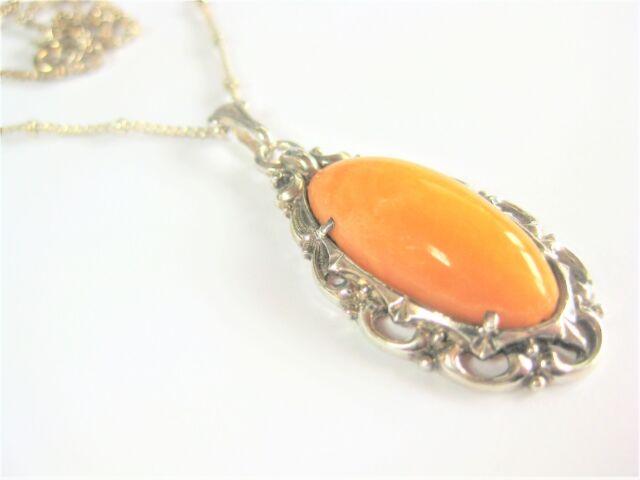 style ancien pendentif avec chaîne argent 800/925, miel ambré