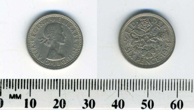 Great Britain 1954 -  6 Pence (Sixpence) Copper-Nickel Coin - Queen Elizabeth II