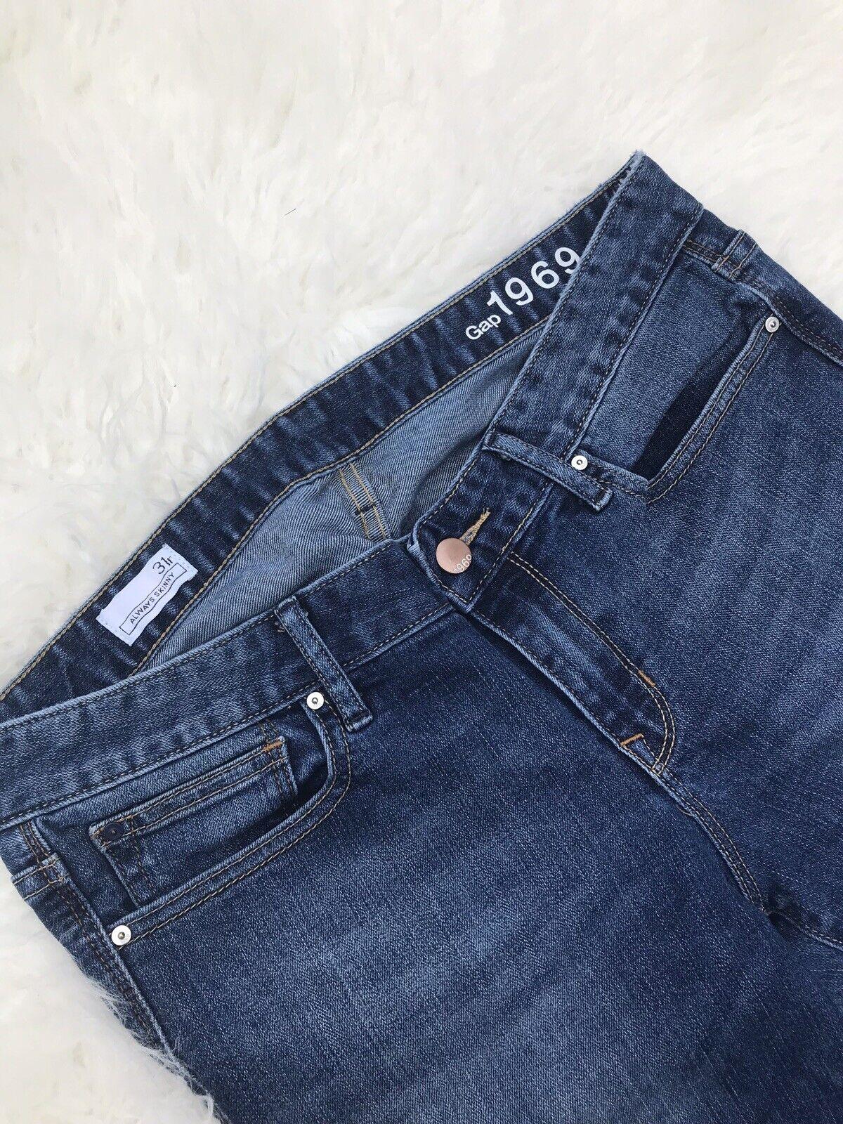 7e38b136d0 Gap 1969 Womens Premium Skinny Jeans Size 12/31R Dark Blue Stretch Mid Rise