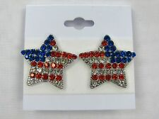 American Flag Clip On Earrings Red White Blue Silver Plated Rhinestone Crystal