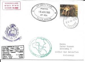 AFRIQUE-DU-SUD-RSA-1985-ENVELOPPE-M-V-S-A-AGULHAS-ILE-MARION-VOIR-CACHETS-TTB