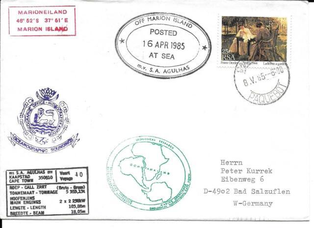 AFRIQUE DU SUD RSA 1985 ENVELOPPE M V S A AGULHAS  ÎLE MARION VOIR CACHETS TTB