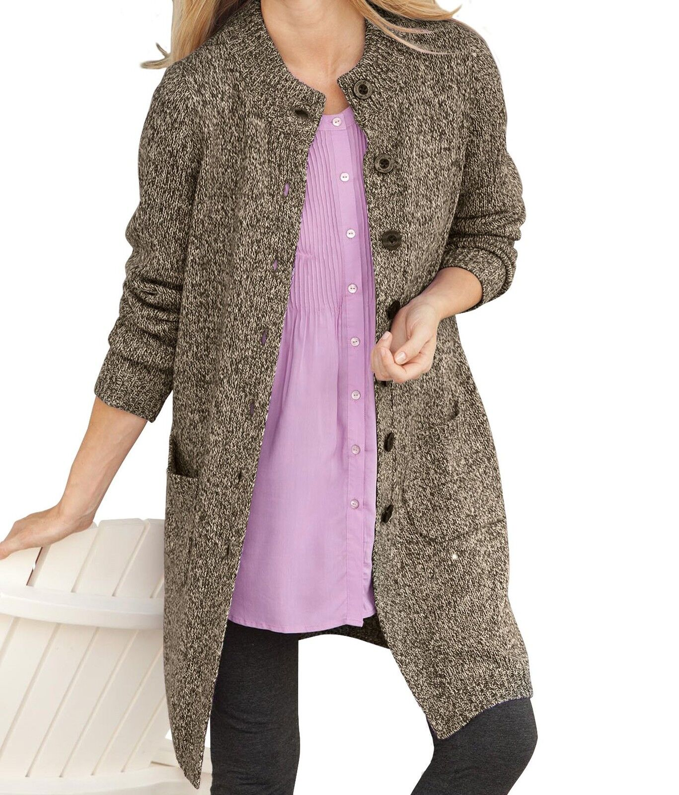Woman Within Plus Plus Plus Size Light Khaki Chocolate Marled Sweater Cardigan Size 3X 05addc
