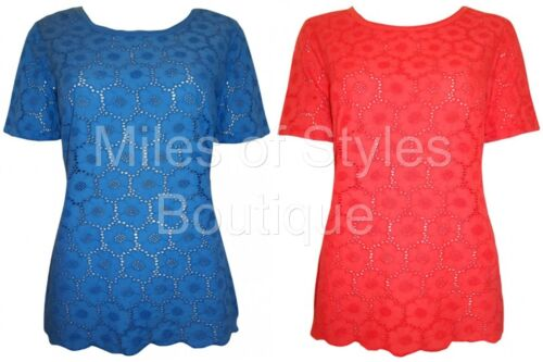 Ex M/&S Ladies Broderie Anglais 100/% Cotton Lace Casual Top Blue Coral Size 12-22