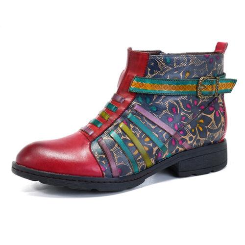 Zyyd Women Handmade Bloc Fermeture Éclair Bottes Cheville En Cuir Véritable épissage Chaussures