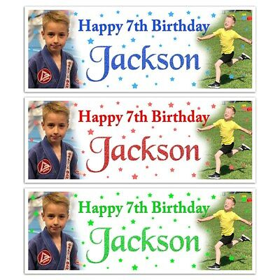 X 2 PERSONALISED BOYS NAME BIRTHDAY PARTY PHOTOGRAPH BANNERS KIDS DECORATION