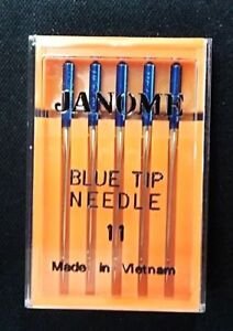 Genuine-Janome-Needle-034-Blue-Tip-034-Size-11-75-5-Pack