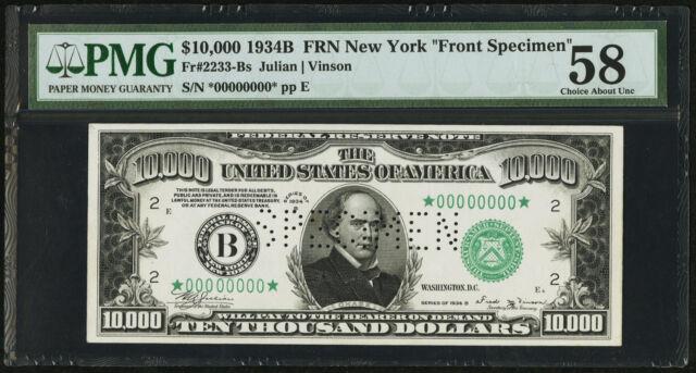 """FR. 2233-B 1934-B $10,000 FRN FEDERAL RESERVE NOTE """"FRONT SPECIMEN"""" PMG AU-58"""